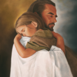 Jesus holding a child with a trusting faith